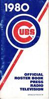 1980 Chicago Cubs Baseball Media Guide Bruce Sutter,Bill Buckner,Dave Kingman FR