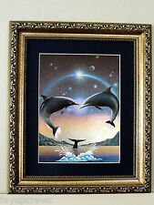 DOLPHIN FISH  PICTURE SEA LIFE AQUATIC SEA ANIMALS MATTED FRAMED FOIL PRINT 8X10