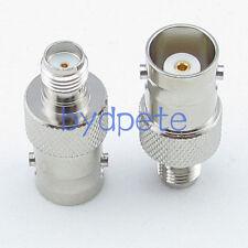 2pcs SMA female jack to BNC female jack Straight RF Connector Adapter