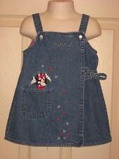 Disney Store Toddler Girls Minnie Mouse Denim Wrap Dress Jumper USA Stars Sz 2T