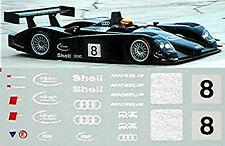 AUDI R8 macchina di prova Le Mans #8 NERO 1:43 DECALCOMANIA