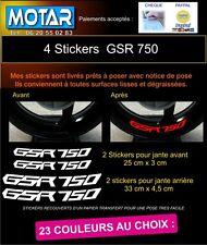 4 STICKER LISERET JANTES GSR 750 GSR750 MOTO AUTOCOLLANT DECAL