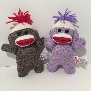 "Schylling Baby Sock Monkey Purple Brown 7"" Plush Stuffed Animal Lot 2 Boy Girl"