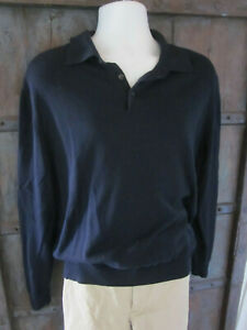 Brooks Brothers Size L Navy Blue Polo Sweater Mens Silk Cotton 346 Long Sleeve