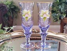 Italian Venetian Original Barbini Murano Handmade 24K Gold & Lilac Wine Glasses