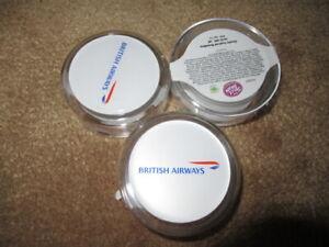 3 EMPTY BRITISH AIRWAYS JELLY BEAN POTS W/ LOGO ON TOP 334