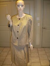 TALBOTS BROWN & BEIGE PRINT CLASSY WEAR TO WORK SKIRT SUIT SIZE: 10