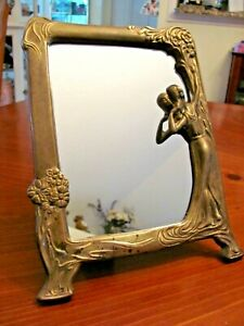 "VINTAGE SOLID BRASS ART NOUVEAU 10"" POSED LADY & FLOWERS FOOTED VANITY MIRROR EC"
