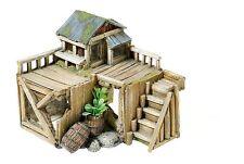 Classic Wooden Corner House & Plants Fish Tank Cave Aquarium Ornament 3145