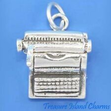 Movable Typewriter 3D .925 Solid Sterling Silver Charm Reporter Writer USA MADE