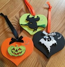 3 Halloween Decorations Handmade Hanging Witch Pumpkin Ghost Orange Green Blac