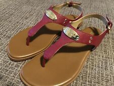 Michael Kors Sandals Womans 6.5 Strap Red Tan Gold Tags Clearance Priced