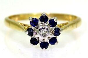 Vintage Sapphire & Diamond Cluster 18ct Yellow Gold ring K ~ 5 1/4