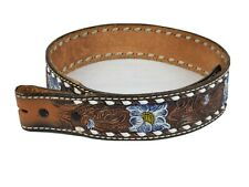 NEW Tony Lama Women's Brown Leather Belt Buck Stitched Donna Vintage Size 28