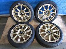 JDM 02 04 Subaru WRX STI OEM Gold BBS Wheels 5x100 17x7.5 et53 GDA GDB EJ207
