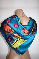 "Vintage 80s Echo Jewels Bright Multi Colored Scarf Square 35"" X 35"" 100% Silk"