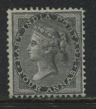 India 1855 4 annas black unused no gum