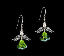 Dangle .925 Sterling Silver Earrings *Ckstella* Angel Peridot Green Ab