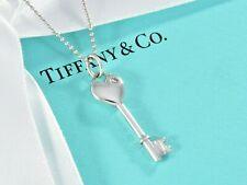 "Tiffany & Co Sterling Silver Diamond Heart Key Pendant 18"" Bead Chain Necklace"