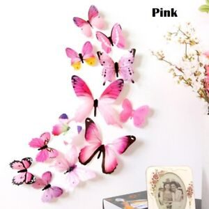 3D New Butterfly Wall Stickers 12PCS Party Home Wedding Decoration Kids Baby