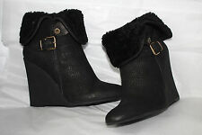 BURBERRY FOWLER BLACK WEDGE BOOTS #7us $1050