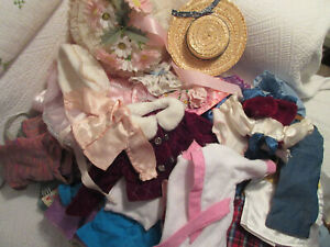 """LARGE LOT of DOLL CLOTHES DIFFERENT SIZES..from 4"""" to 18"""" couple AMERICAN GIRL"""