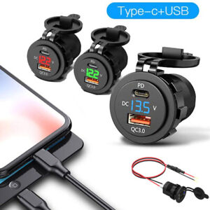 12/24V Dual USB Ports+Type C QC3.0 Fast Car Charger Socket Adapter LED Voltmeter