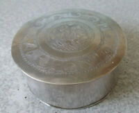 ANTIQUE / VINTAGE ORNATELY ETCHED  INDIAN SILVER  TRINKET POT -  3 X 1 1/2 INCH