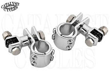 "Chrome Foot Peg Mounts For Harley 1 1/4"" Engine Guard Highway Pegs Footpegs"