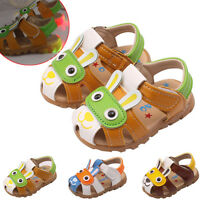 Summer Infant Kids Boy Girl Sandals Flashing Lights Anti-slip Crib Shoes AU