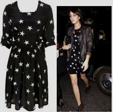 Topshop Celebrity Black & White Silky Star Print Flippy Tea Dress - Size 8