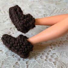 BARBIE Doll OOAK Brown Yarn Knit Crochet BED SLIPPERS Handmade Vintage 1970's