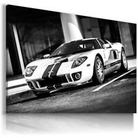 FORD GT WHITE BLACK Sports Cars Wall Art Canvas Picture  AU813  MATAGA