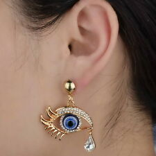 Beauty Gothic Evil Eye Crystal Teardrop GP Dangle Stud Earrings Ear Rhinestone