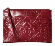 Hobo International Women's Noa Leather Embossed Wristlet Purse Red, Grey, Black