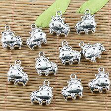 6pcs tibetan silver color flowers animal charms EF2437