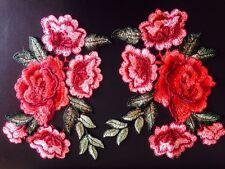 2pcs Embroidered Sew on Patch Badge Rose Flower Bag Hat Dress Applique DIY