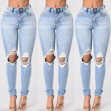 Women Destroyed Ripped Distressed Hole Slim Denim Pants Boyfriend Jeans Trousers