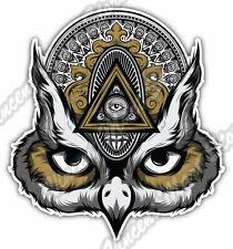 "Eye Providence Owl Illuminati Freemasonry Car Bumper Vinyl Sticker Decal 4""X5""."