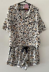 Peter Alexander Women's Leopard Print Satin Shortie Set Size Small RRP$119.00
