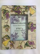 Ceramic Picture Frame 5x7 Hand Crafted Bellezza Pear Grape Vine Design Heavy