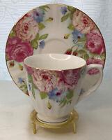 Rose Cottage Tea Cup & Saucer Set Fine China Dishwasher Safe Made in China