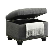 Convenience Concepts Designs4Comfort 5th Ave Storage Ottoman, Grey - 163010FGY