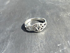 Vintage Celtic Knot Ring Woven, 925 Sterling Silver Ladies UK size T, Stacker