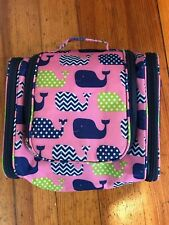 """3C4G polyester multi color whales 9""""x9"""" zip around cosmetic ba with hanger"""