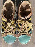 Women's Spring Step L'Artiste Porscha-Tom Teal Brown Lace Up Shoes Eur 37 US 6.5