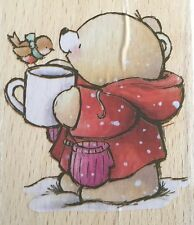 Cute FOREVER FRIENDS SNOWY TEDDY, ROBIN & COCOA Christmas Rubber Stamp