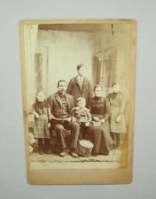 Nice old antique vtg 1870s family group BOY WITH DRUM cabinet photograph photo