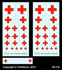 1/100 FOW 1/144 1/200 1/300 stickers mi-118 MILITAIRE AMBULANCE CROIX ROUGE MARQUAGE
