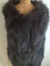 New Authentic Charcoal Gray Fox Fur Reversible Knit Vest L Xl